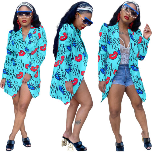 Sky  blue  Fashionable digital printing slim casual 5-color small suit