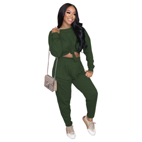Army green Pure color loose long-sleeved T-shirt + pleated waist casual pants suit