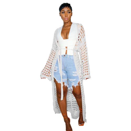 Women's casual openwork knitted long coat