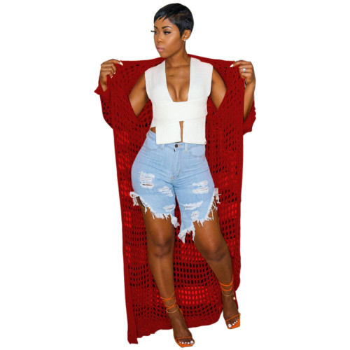 Red Women's casual openwork knitted long coat