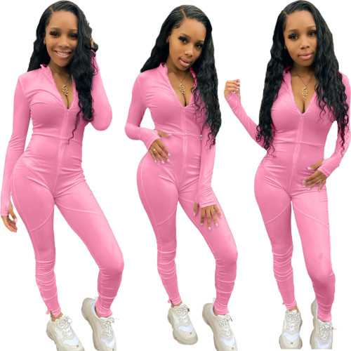 Pink   Casual trousers split stitching long-sleeved jumpsuit