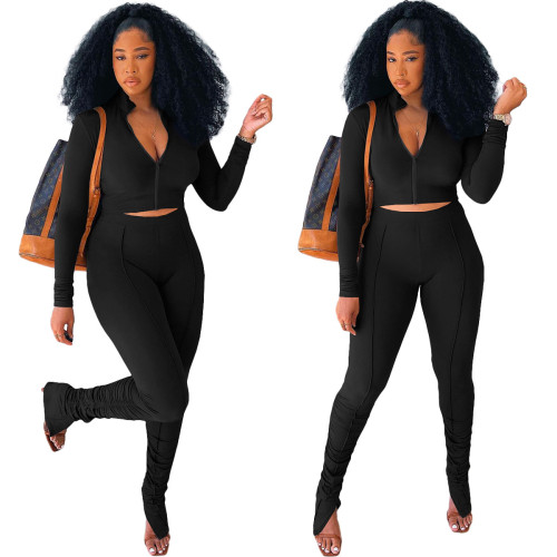 Black   Stitching pleated long sleeve two-piece suit