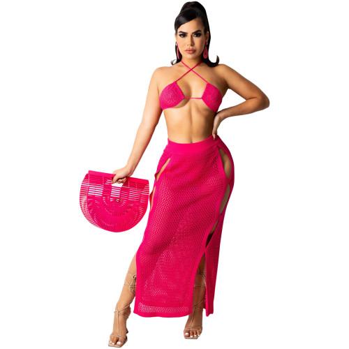 Rose red Women's casual sexy knitted bikini + beach skirt