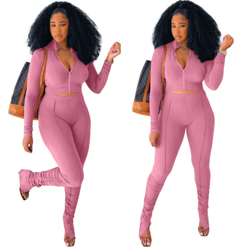 Pink Stitching pleated long sleeve two-piece suit