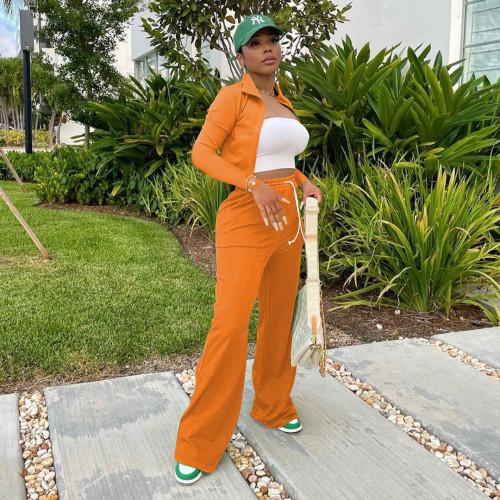 Orange Women's zipper jacket wide leg pants sports suit stand-up collar bucket pants two-piece women
