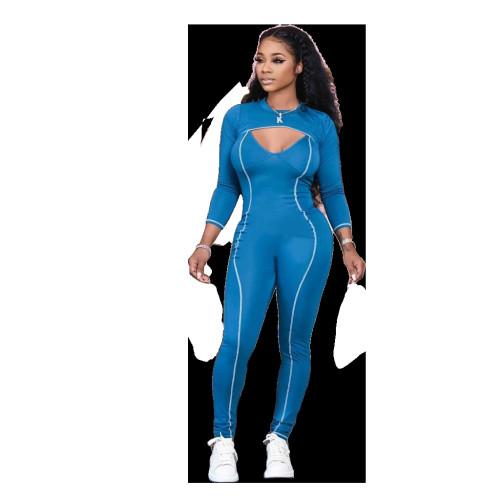 Women's short top suit two-piece solid color jumpsuit