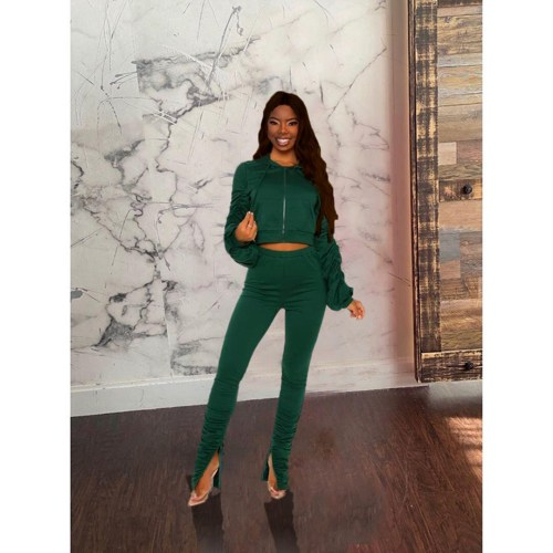 Green Fashion pleated long-sleeved suit casual split trouser leg two-piece suit