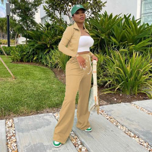 Khaki  Women's zipper jacket wide leg pants sports suit stand-up collar bucket pants two-piece women