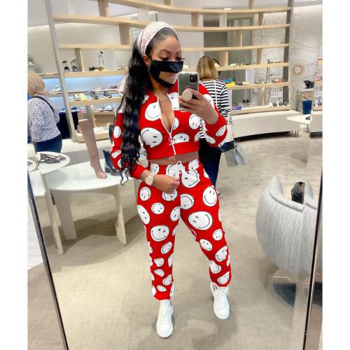 Red   Women's Digital Printed Sports Suit Smiley Pattern Long Sleeve Zipper Two-Piece Set