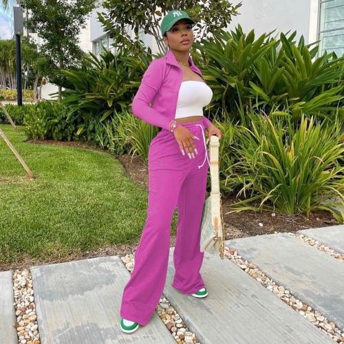 Rose  red  Women's zipper jacket wide leg pants sports suit stand-up collar bucket pants two-piece women