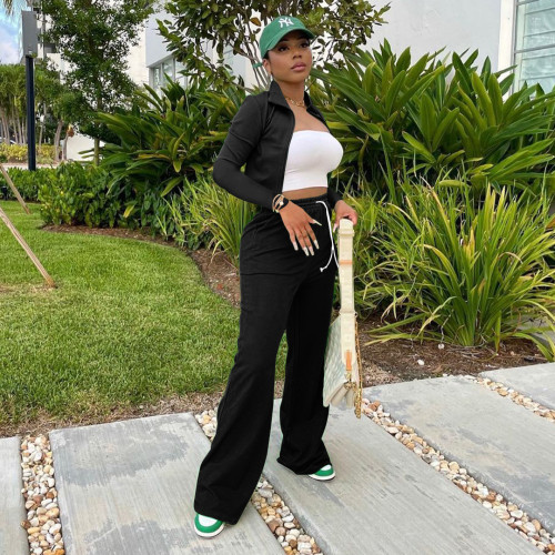 Black   Women's zipper jacket wide leg pants sports suit stand-up collar bucket pants two-piece women