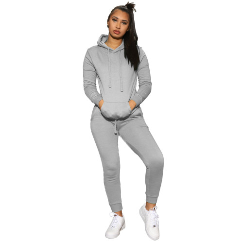 Grey   Women's solid color hooded sweatshirt sports two-piece suit