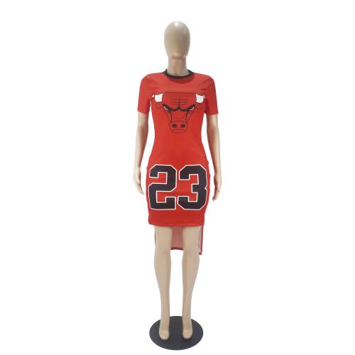 Red Digital graphic print short-sleeved split dress
