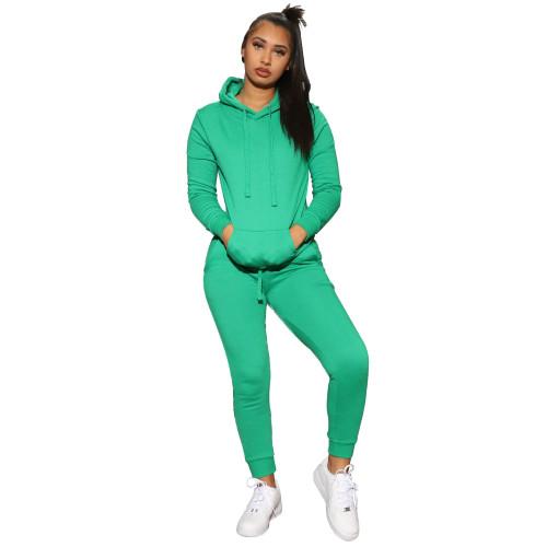 GreenWomen 's solid color hooded sweatshirt sports two-piece suit