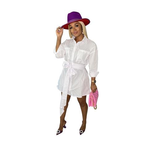 Khaki Autumn and winter shirt dress pocket single-breasted with belt