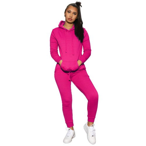 Rose red    Women's solid color hooded sweatshirt sports two-piece suit