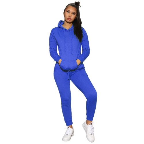 Blue  Women's solid color hooded sweatshirt sports two-piece suit