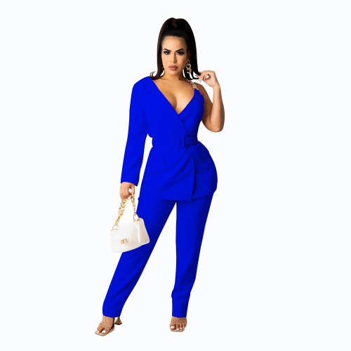 Blue  Concealed buckle one-sided sleeve chain belt two-piece suit