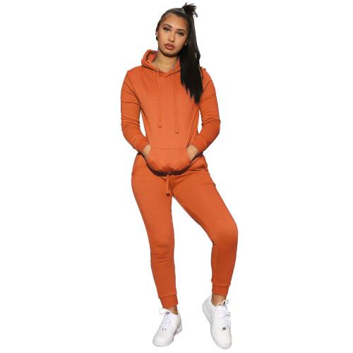 Orange  Women's solid color hooded sweatshirt sports two-piece suit
