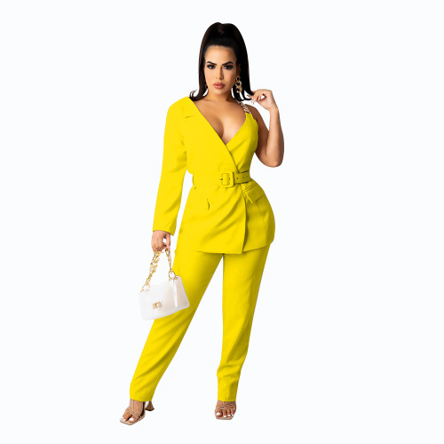 Yellow  Concealed buckle one-sided sleeve chain belt two-piece suit