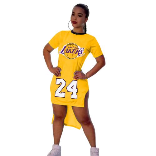 Yellow Digital graphic print short-sleeved split dress