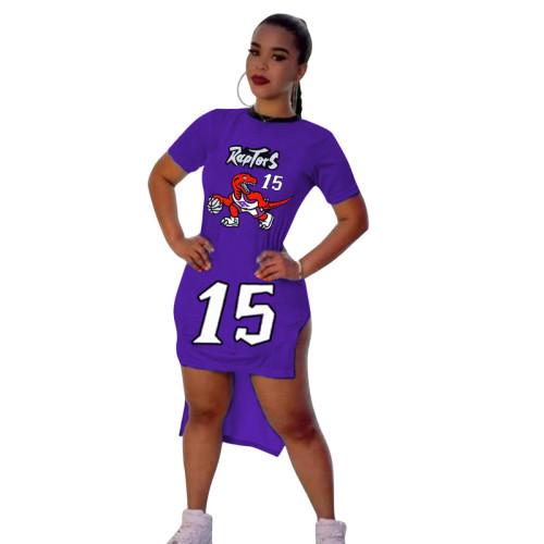 Purple Digital graphic print short-sleeved split dress