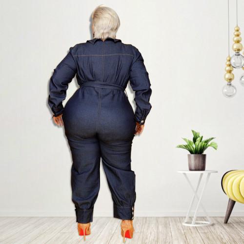 Slim fit V-neck casual plus size women's denim jumpsuit
