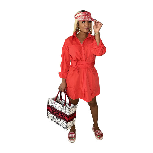 Red Autumn and winter shirt dress pocket single-breasted with belt