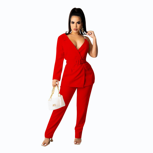 Red  Concealed buckle one-sided sleeve chain belt two-piece suit
