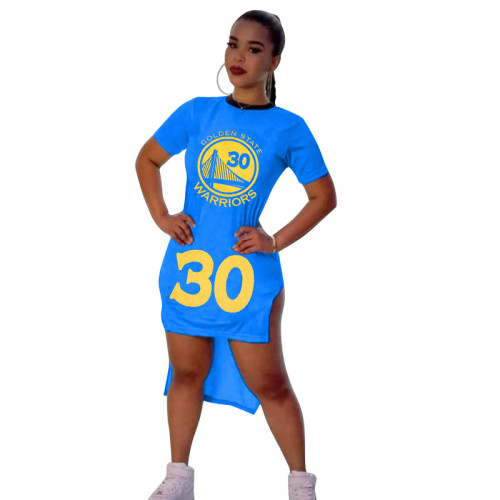 Bule Digital graphic print short-sleeved split dress