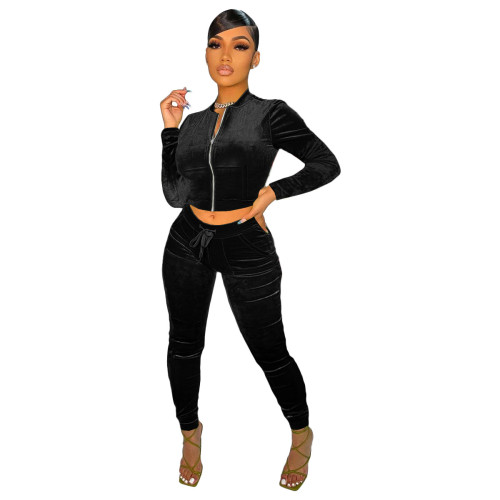 Black    Velvet fabric pocket zipper leisure sports suit