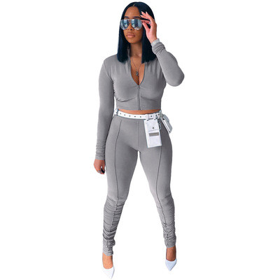 Grey  Autumn new style long-sleeved pleated pants casual sports suit
