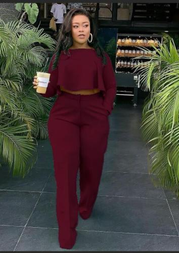 Claret The front is short and the back is long. Fashionable back pleated solid color wide leg independent stand two-piece set