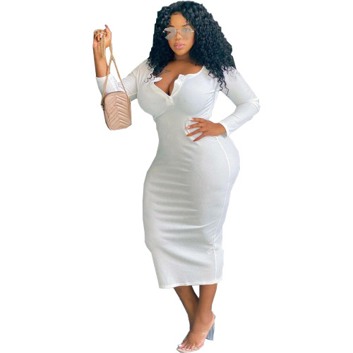 Sexy solid color V-neck long-sleeved plus size women's dress