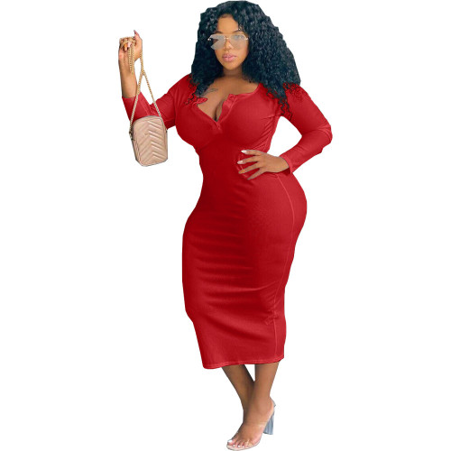 Red Sexy solid color V-neck long-sleeved plus size women's dress