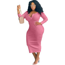 Pink Sexy solid color V-neck long-sleeved plus size women's dress