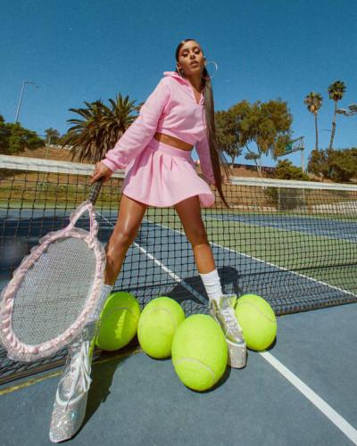 Tennis uniform solid color velvet pleated mini skirt suit two-piece suit