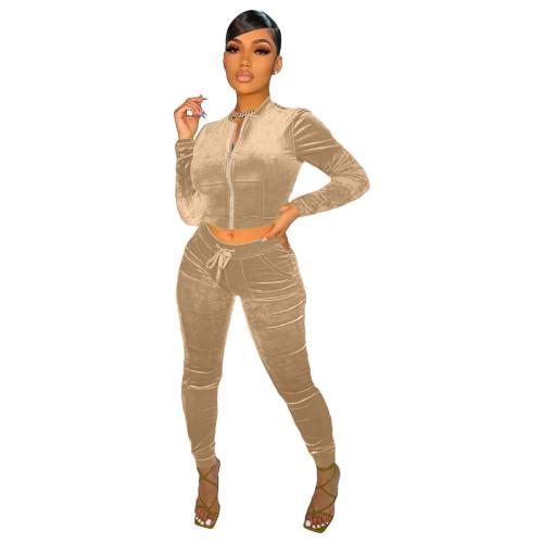 Khaki   Velvet fabric pocket zipper leisure sports suit