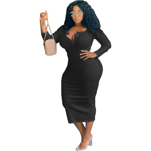 Black Sexy solid color V-neck long-sleeved plus size women's dress