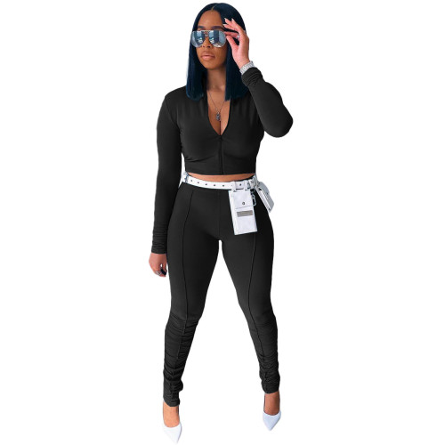 Black   Autumn new style long-sleeved pleated pants casual sports suit