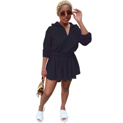 Black Tennis uniform solid color velvet pleated mini skirt suit two-piece suit