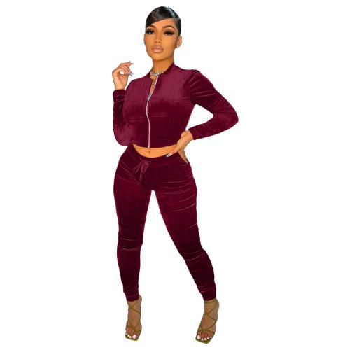 Wine  red   Velvet fabric pocket zipper leisure sports suit