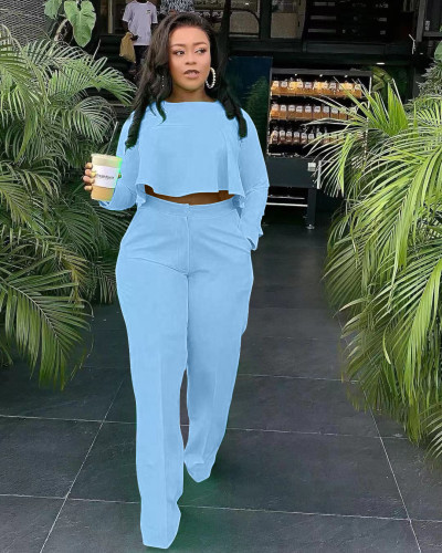 Sky bule The front is short and the back is long. Fashionable back pleated solid color wide leg independent stand two-piece set