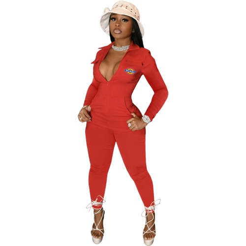 Red  High waist solid color 4 pocket sexy long-sleeved trousers jumpsuit
