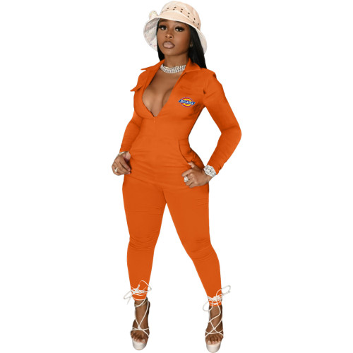 Orange   High waist solid color 4 pocket sexy long-sleeved trousers jumpsuit