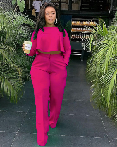 Rose red The front is short and the back is long. Fashionable back pleated solid color wide leg independent stand two-piece set