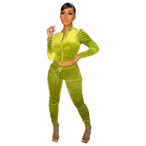 Green   Velvet fabric pocket zipper leisure sports suit