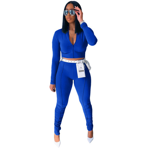 Blue  Autumn new style long-sleeved pleated pants casual sports suit
