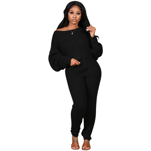 Black Two-piece solid color bat sleeve sweater