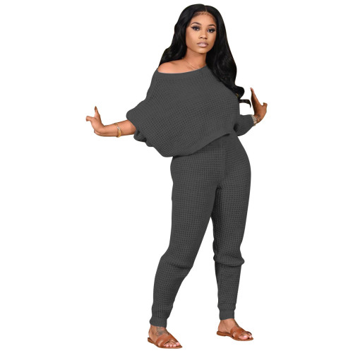 Dark gray Two-piece solid color bat sleeve sweater